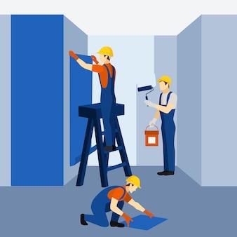 Cartaz de ícone de trabalho de renovação de edifício de apartamento