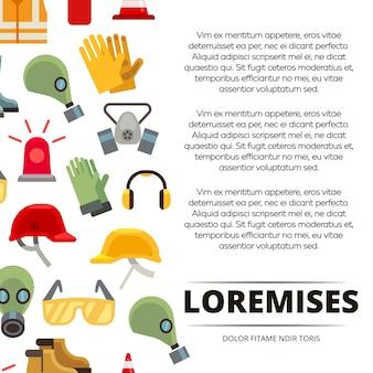 Cartaz de ícones de equipamento de proteção pessoal plana colorida