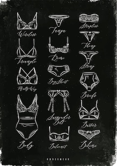 Cartaz de ícones de roupas íntimas clássicas em estilo vintage, desenhando com giz no quadro-negro