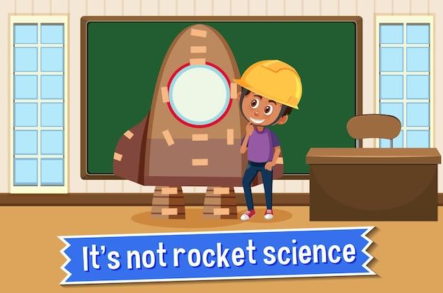Cartaz de idioma com não é ciência de foguetes