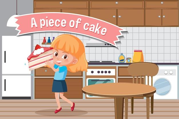 Cartaz de idioma com um pedaço de bolo