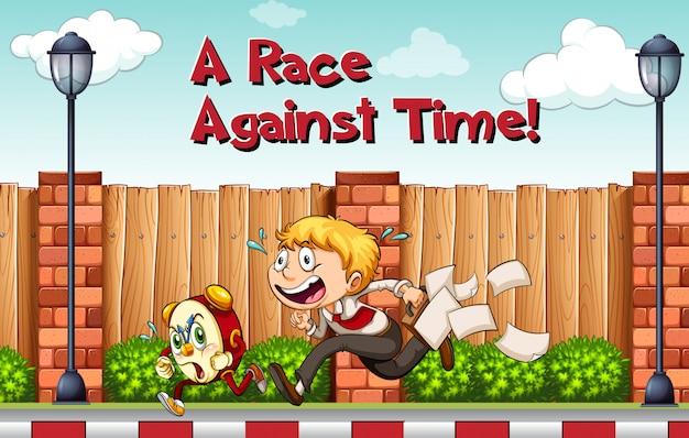 Cartaz de idioma para o tempo de agaista de corrida