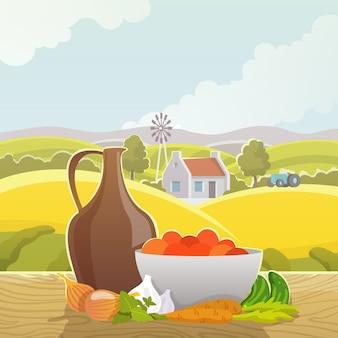 Cartaz de ilustração abstrata de paisagem rural