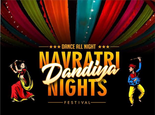 Cartaz de ilustração de garba festival disconavratri celebrationgujarati dandiya night pôster