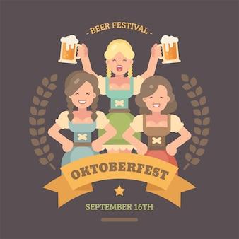 Cartaz de ilustração plana oktoberfest.