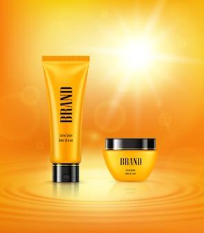 Cartaz de ilustração vetorial 3d com produtos premium cosméticos antienvelhecimento