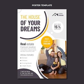 Cartaz de imobiliário geométrico de design plano