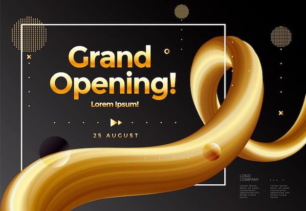 Cartaz de inauguração ou modelo de banner com balão gráfico e fita dourada abstrata.
