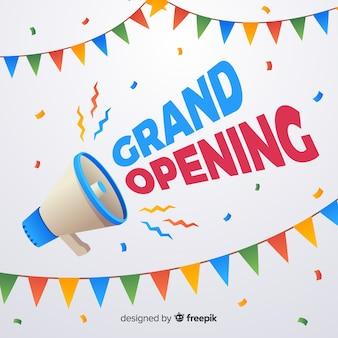 Cartaz de inauguração plana com megafone