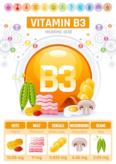 Cartaz de infográfico de alimentos vitamina b3. projeto de suplemento de dieta saudável