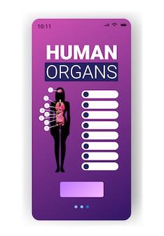 Cartaz de infográfico de estrutura de corpo humano com órgãos internos feminino ícones anatomia sistema placa smartphone tela móvel aplicativo vertical