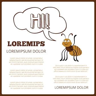 Cartaz de informação de crianças com discurso de abelha e bolha de desenho animado