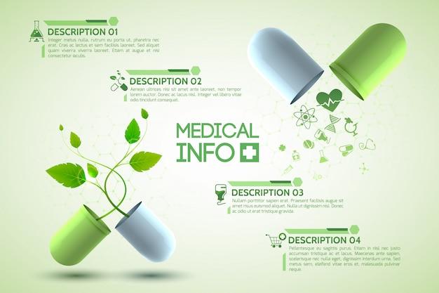 Cartaz de informações sobre medicamentos com ilustração realista de símbolos de medicamentos e farmácias