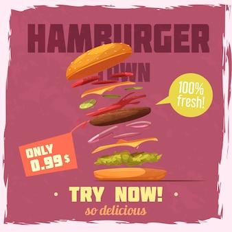 Cartaz de ingredientes frescos hambúrguer com preço e discurso bolha no plano de fundo texturizado roxo