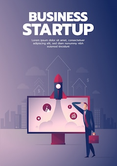 Cartaz de inicialização de empresário com texto