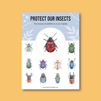 Cartaz de insetos e pássaros com vários ilustração em aquarela de besouros.