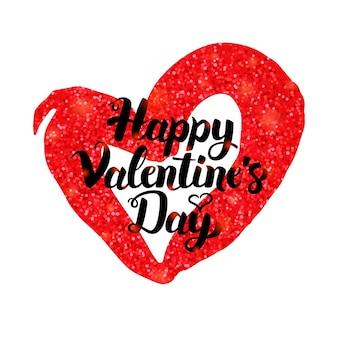 Cartaz de inspiração de feliz dia dos namorados. ilustração em vetor de cartão postal de saudação de amor com caligrafia.
