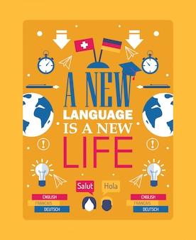 Cartaz de inspiração para o aprendizado de idiomas, frase de citação de tipografia um novo idioma é uma nova vida