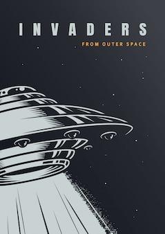 Cartaz de invasão alienígena vintage