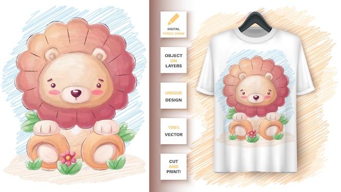 Cartaz de leão fofo e merchandising
