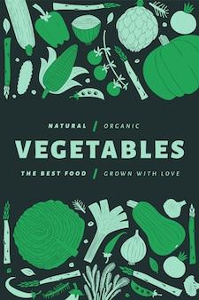 Cartaz de legumes desenhados à mão