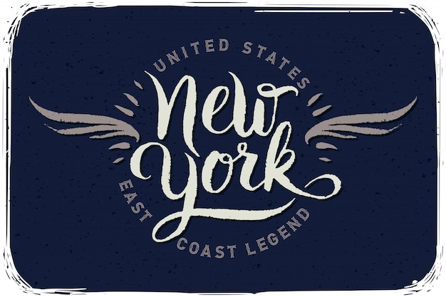 Cartaz de letras caligráficas de nova york Vetor Premium