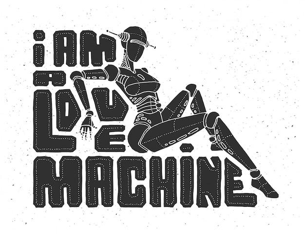 Cartaz de letras com cyber robô feminino