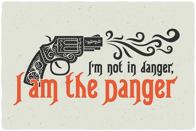 Cartaz de letras com ilustração de arma