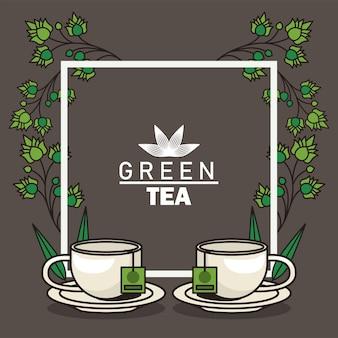 Cartaz de letras de chá verde com xícaras de chá e folhas em moldura quadrada