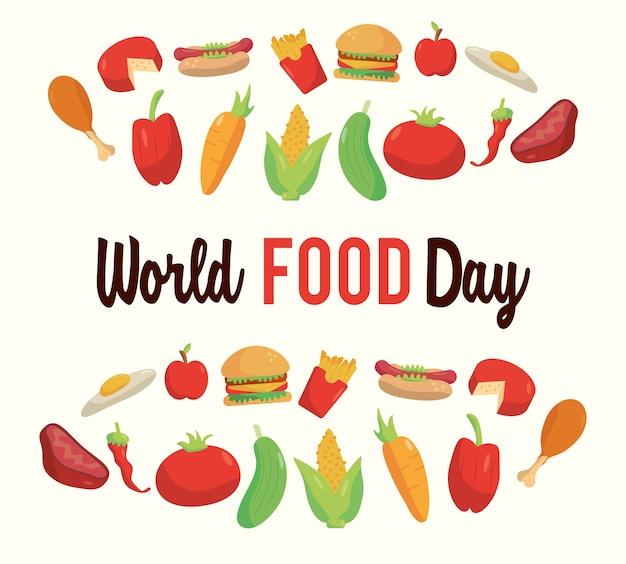 Cartaz de letras do dia mundial da alimentação com design de ilustração de quadro de alimentos nutritivos