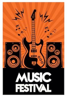 Cartaz de letras do festival de música com guitarra elétrica e alto-falantes