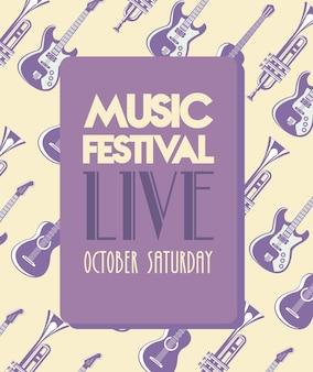 Cartaz de letras do festival de música com padrão de instrumentos