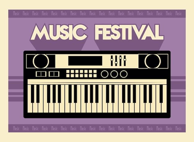 Cartaz de letras do festival de música com piano
