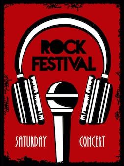 Cartaz de letras do festival de rock ao vivo com fones de ouvido e microfone