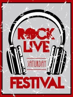 Cartaz de letras do festival de rock ao vivo com fones de ouvido