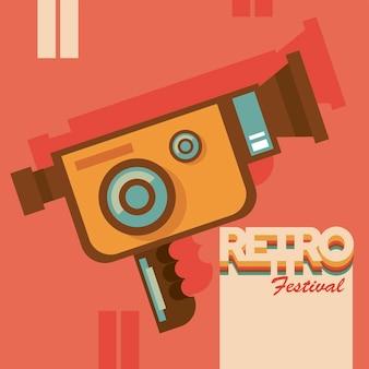 Cartaz de letras do festival retrô com câmera de vídeo