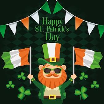 Cartaz de letras feliz dia de são patrício com duende levantando ilustração de bandeiras da irlanda