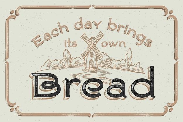 Cartaz de letras vintage com ilustrações artesanais