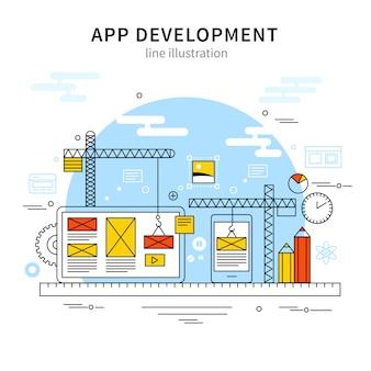 Cartaz de linha de ilustração móvel
