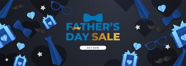 Cartaz de liquidação do dia dos pais com um flatlay de óculos, gravata e presentes
