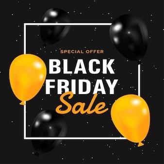 Cartaz de liquidação na sexta-feira negra com balões pretos e amarelos