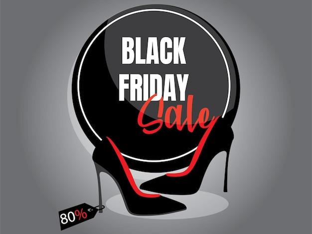 Cartaz de liquidação na sexta-feira negra com sapatos