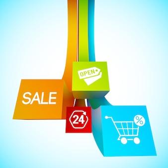 Cartaz de listras coloridas com diferentes objetos e palavras sobre a venda na loja no azul