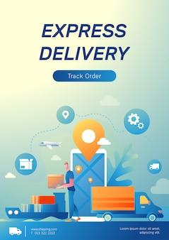 Cartaz de logística e comércio eletrônico