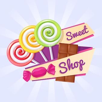 Cartaz de loja de doces. pirulitos, doces e barra de chocolate.