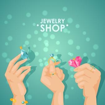Cartaz de loja de joias, mãos segurando jóias