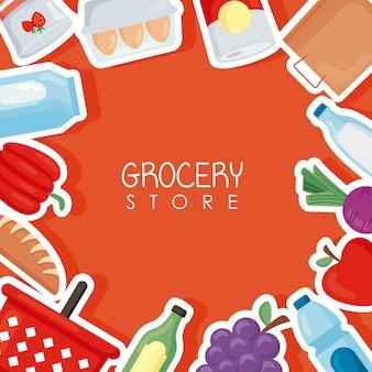 Cartaz de loja de mantimentos com produtos ao redor