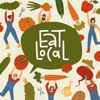 Cartaz de loja de mercado de fazenda de vegetais pequenas pessoas colhendo vegetais gigantes naturais, orgânicos, frescos, foo ...
