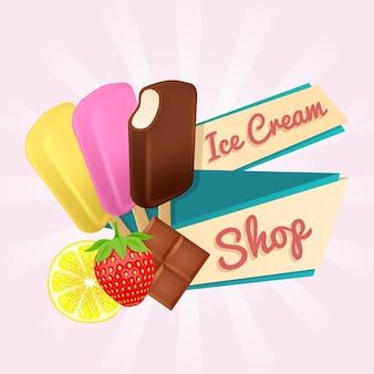 Cartaz de loja de sorvete.