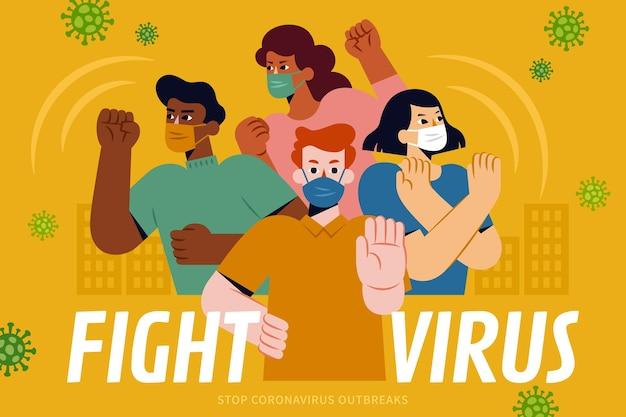 Cartaz de luta contra o vírus juntos